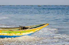 Colorful wooden fishing boat on sea Royalty Free Stock Photo