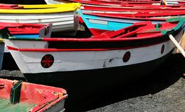 Colorful Wooden Fishing Boats Royalty Free Stock Image