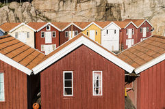 Colorful wooden fishing sheds Stock Photography