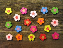 Colorful wooden flowers Royalty Free Stock Image
