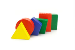 Colorful wooden geometric blocks Stock Images