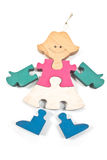 Colorful wooden girl puzzle pieces Royalty Free Stock Image