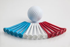 The colorful wooden golf tees Stock Photography