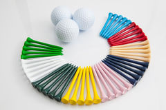 The colorful wooden golf tees Stock Images