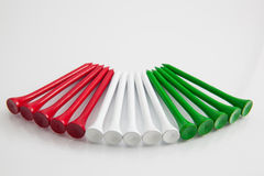 The colorful wooden golf tees Royalty Free Stock Images