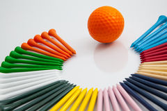 The colorful wooden golf tees Royalty Free Stock Photo