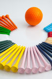 The colorful wooden golf tees Stock Image