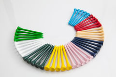 The colorful wooden golf tees Royalty Free Stock Photos