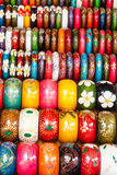 Colorful wooden hand-painted bracelets Stock Photo