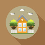 Colorful Wooden House, Think Green Concept. Autumn Theme Royalty Free Stock Photo