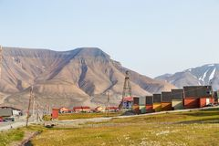 Colorful wooden houses along the road in summer at Longyearbyen, Svalbard stock photos