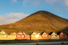 Colorful houses of Longyearbyen, Svalbard stock photos