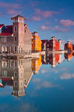 Colorful wooden houses near water Royalty Free Stock Image