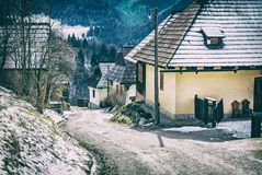 Colorful wooden houses in Vlkolinec village, Slovak republic, Unesco. Cultural heritage. Travel destination. Folk architecture. Analog photo filter with stock images