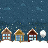 Colorful Wooden Houses, Winter Theme. Colorful Wooden Houses With Christmas Decoration, Winter Theme stock illustration