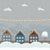 Colorful Wooden Houses, Winter Theme. Colorful Wooden Houses With Christmas Decoration, Winter Theme royalty free illustration