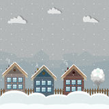 Colorful Wooden Houses, Winter Theme. Cozy Wooden Houses, Winter Theme stock illustration