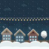 Colorful Wooden Houses, Winter Theme. Cozy Wooden Houses, Winter Theme vector illustration