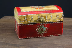 Colorful wooden jewel box ethnic style Stock Photos