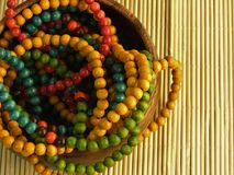 Colorful wooden jewellery Stock Photography