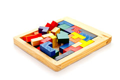 Colorful wooden jigsaw Royalty Free Stock Photos