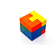 Colorful wooden jigsaw Stock Photos