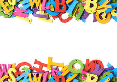 Colorful wooden letters as borders Royalty Free Stock Photos