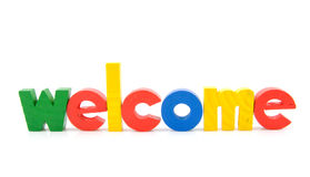 Colorful wooden letters with the word welcome Stock Images