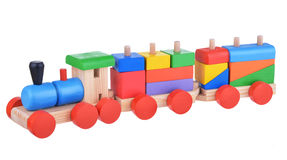Colorful wooden logic toy train stock images