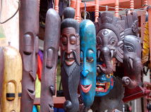 Colorful wooden masks Stock Photo