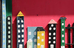 Colorful wooden model of a city Royalty Free Stock Images