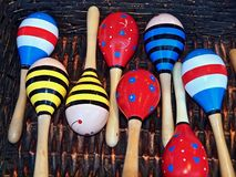 Colorful music instruments out of wood in Portugal royalty free stock photos