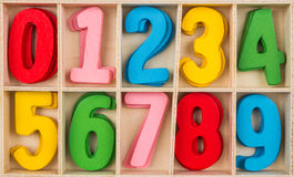 Colorful wooden Number Set Stock Images