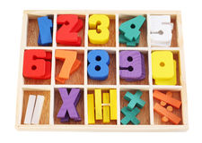 Colorful wooden numbers in box isolated Royalty Free Stock Photography