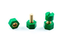 Colorful wooden nuts and bolts toy Royalty Free Stock Photos