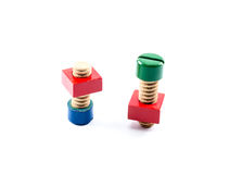 Colorful wooden nuts and bolts toy Royalty Free Stock Images