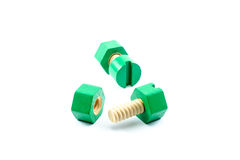 Colorful wooden nuts and bolts toy Stock Image