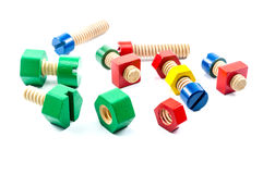 Colorful wooden nuts and bolts toy Royalty Free Stock Photo