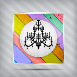 Colorful wooden pattern icon with chandelier Stock Photo