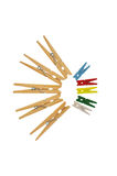 Colorful wooden peg Royalty Free Stock Images