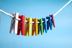 Colorful wooden pegs Stock Photos