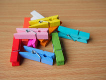 Colorful wooden pegs Stock Image