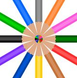 Colorful Wooden Pencil in circle Royalty Free Stock Photography