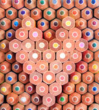 Colorful wooden pencil in heart shape Stock Image