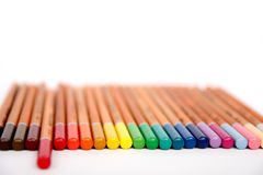 Colorful wooden pencils collection. Multicolored pencils  on white background. School drawing equipment. Color pencils collection. Designer set tools Royalty Free Stock Photo