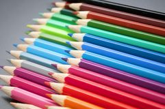 Colorful wooden pencils crayons Royalty Free Stock Photos
