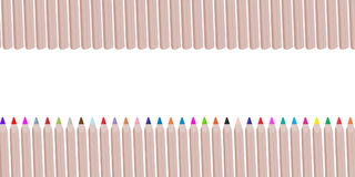 Colorful wooden pencils or crayons like a series of rainbow colo Royalty Free Stock Photos