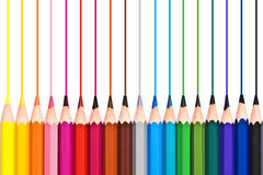 Colorful wooden pencils drawing lines isolated on white Royalty Free Stock Images