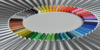 Colorful wooden pencils lying circle  on white background Stock Photos