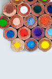 Colorful wooden pencils macro view Stock Photography